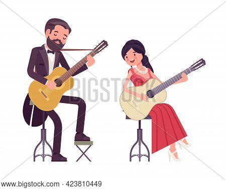 Musician, Man, Woman Playing Professional Banjo, Guitar, String Instruments. Classical Music Event,