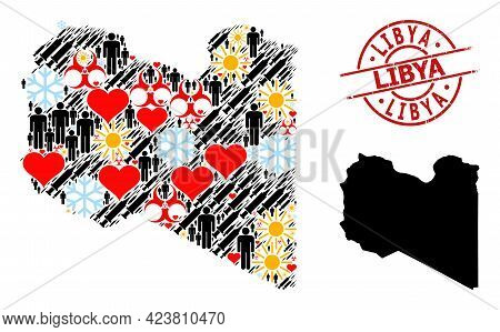 Textured Libya Seal, And Winter Patients Syringe Mosaic Map Of Libya. Red Round Stamp Seal Includes