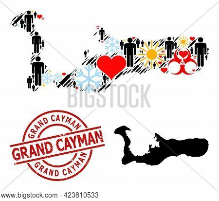 Rubber Grand Cayman Badge, And Lovely Demographics Syringe Collage Map Of Grand Cayman Island. Red R