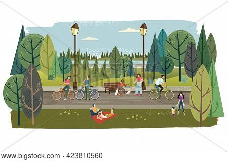 City Park. Vector Illustration On The Topic Of Nature, Healthy Living, Ecology, Staying In Nature, L