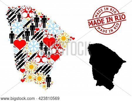 Textured Made In Rio Stamp, And Sunny Men Vaccine Collage Map Of Ceara State. Red Round Badge Has Ma