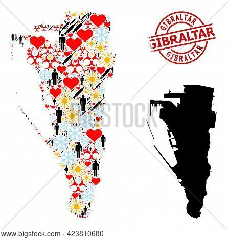 Scratched Gibraltar Seal, And Heart Population Inoculation Mosaic Map Of Gibraltar. Red Round Stamp