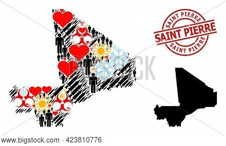 Textured Saint Pierre Stamp Seal, And Lovely Humans Virus Therapy Mosaic Map Of Mali. Red Round Seal