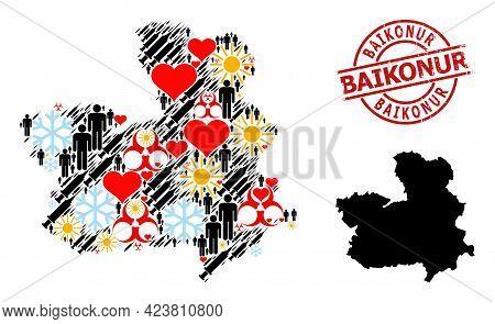 Distress Baikonur Stamp, And Heart Humans Covid-2019 Treatment Mosaic Map Of Castile-la Mancha Provi
