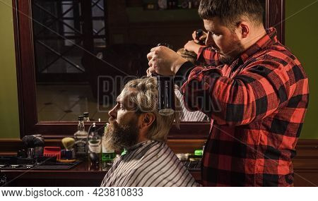 Donation And Charity Concept. Guy With Dyed Blond Hair. Cut Hair. Barber Hairstyle Barbershop. Hipst