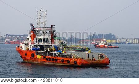 Labuan,malaysia-sept 18,2019:offshore Supply Vessels In Labuan Ft,malaysia.its Specifically Serve Op