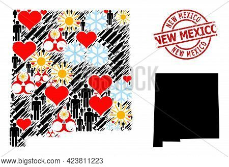 Scratched New Mexico Stamp Seal, And Heart Demographics Covid-2019 Treatment Collage Map Of New Mexi