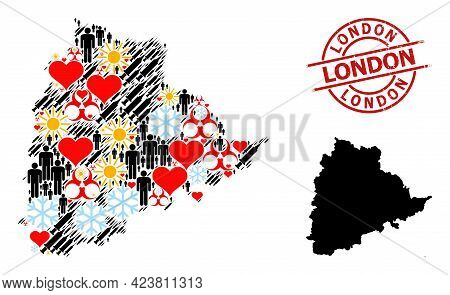 Textured London Stamp, And Winter Humans Infection Treatment Collage Map Of Telangana State. Red Rou