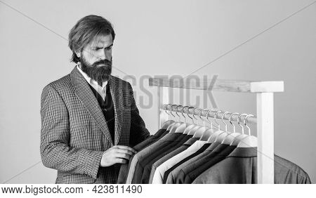 In Search Of Inspiration. Bearded Man Tailoring Clothes. Formal And Office Wardrobe. Businessman. Co