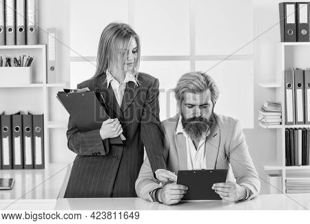 Consulting. Financial Department Team. Office Secretary. Business Couple Working. Couple In Office.