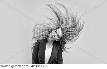 Stylish Fashion Model. Woman In Beauty Salon. Female With Classy Look. Perfect Long Windy Hair. Fash