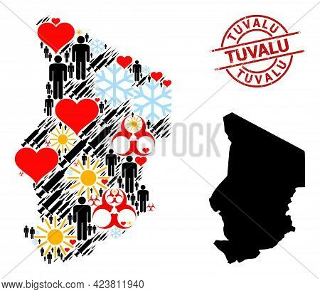 Scratched Tuvalu Stamp Seal, And Heart Customers Virus Therapy Collage Map Of Chad. Red Round Stamp