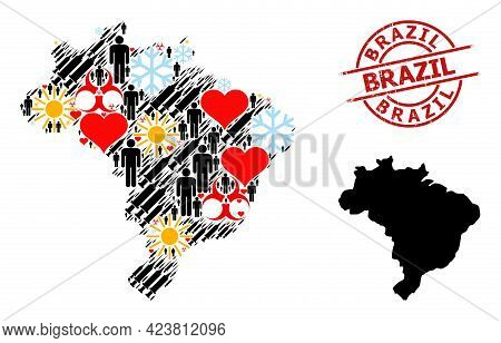 Rubber Brazil Stamp Seal, And Winter Patients Virus Therapy Collage Map Of Brazil. Red Round Stamp S