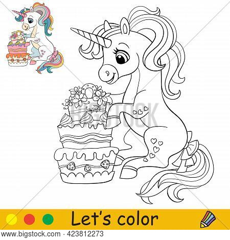 Cartoon Cute Sitting Unicorn With Cake. Coloring Book Page With Colorful Template For Kids. Vector I
