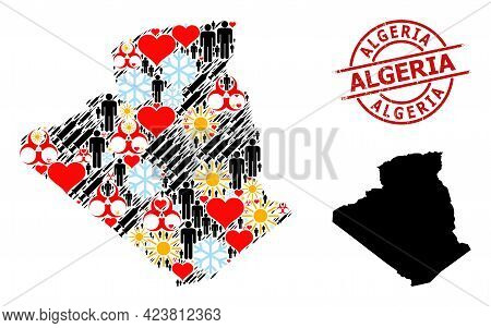 Grunge Algeria Stamp, And Heart People Covid-2019 Treatment Collage Map Of Algeria. Red Round Stamp