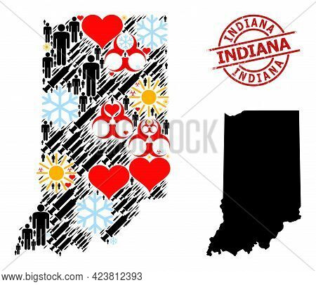 Distress Indiana Stamp Seal, And Spring Patients Infection Treatment Collage Map Of Indiana State. R