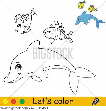 Cartoon Cute Dolphin And Fish. Coloring Book Page With Colorful Template For Kids. Vector Isolated I