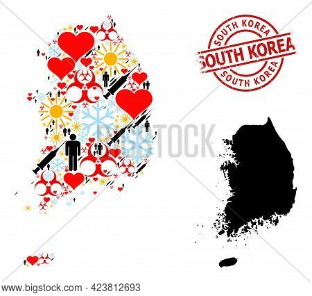 Scratched South Korea Stamp, And Spring Demographics Syringe Mosaic Map Of South Korea. Red Round St