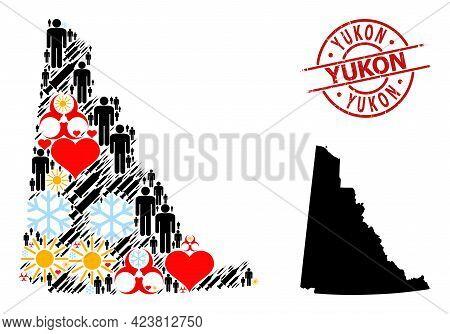 Grunge Yukon Stamp Seal, And Heart Demographics Syringe Collage Map Of Yukon Province. Red Round Sta