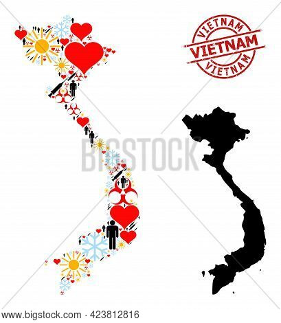 Distress Vietnam Stamp Seal, And Spring Population Covid-2019 Treatment Collage Map Of Vietnam. Red