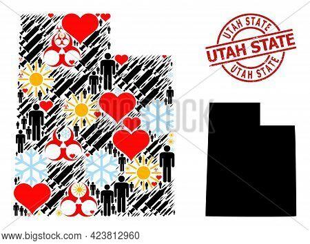 Grunge Utah State Badge, And Winter Humans Inoculation Mosaic Map Of Utah State. Red Round Badge Has