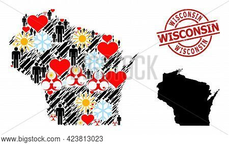 Grunge Wisconsin Stamp Seal, And Heart Man Inoculation Collage Map Of Wisconsin State. Red Round Sta