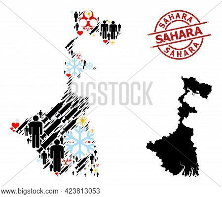 Scratched Sahara Badge, And Heart People Inoculation Mosaic Map Of West Bengal State. Red Round Stam