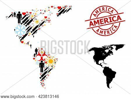 Grunge America Stamp Seal, And Spring Patients Infection Treatment Collage Map Of South And North Am