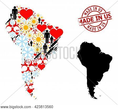 Textured Made In Us Stamp, And Heart Humans Inoculation Collage Map Of South America. Red Round Stam
