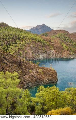 Beautiful lanscape of the Mediterranean sea coast with green pine trees and rocky mountains in Antalya province, Turkey. Lycian way hiking trail landscape at autumn in Turkey