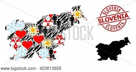 Grunge Slovenia Stamp Seal, And Heart People Inoculation Collage Map Of Slovenia. Red Round Stamp Se