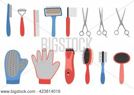 Grooming Equipment For Pets Care Salon. Dog And Cat Hairdressing Tools Set. Domestic Animals Hygiene