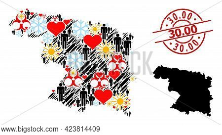 Grunge 30.00 Badge, And Spring Humans Inoculation Collage Map Of Zamora Province. Red Round Badge Ha