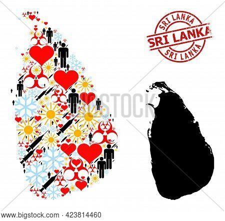 Grunge Sri Lanka Stamp, And Frost Man Syringe Collage Map Of Sri Lanka. Red Round Badge Has Sri Lank