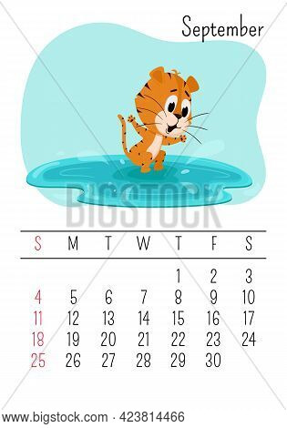 Vertical Wall Calendar Page Template For September 2022 With A Cartoon Tiger Symbol Of The Chinese Y