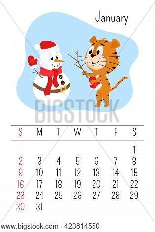 Vertical Wall Calendar Page Template For January 2022 With The Chinese Year Symbol Cartoon Tiger. Th