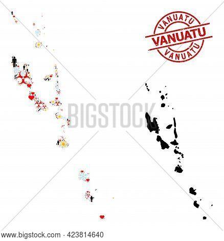 Rubber Vanuatu Stamp Seal, And Frost Man Inoculation Mosaic Map Of Vanuatu Islands. Red Round Badge