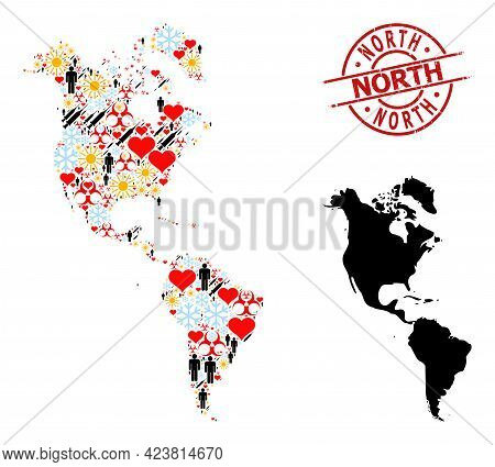 Rubber North Stamp, And Frost Man Syringe Collage Map Of South And North America. Red Round Stamp Co