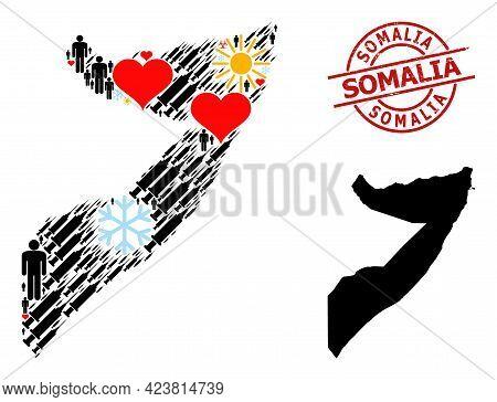 Distress Somalia Stamp Seal, And Sunny Men Syringe Mosaic Map Of Somalia. Red Round Stamp Seal Has S