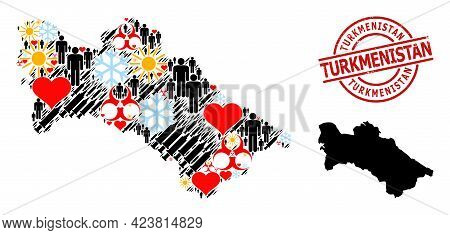 Rubber Turkmenistan Stamp, And Lovely Population Inoculation Collage Map Of Turkmenistan. Red Round