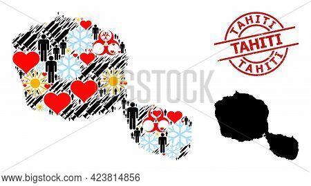 Grunge Tahiti Stamp, And Sunny Population Inoculation Mosaic Map Of Tahiti Island. Red Round Stamp H