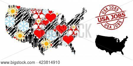 Distress Usa Jobs Badge, And Sunny Customers Covid-2019 Treatment Mosaic Map Of Usa. Red Round Badge
