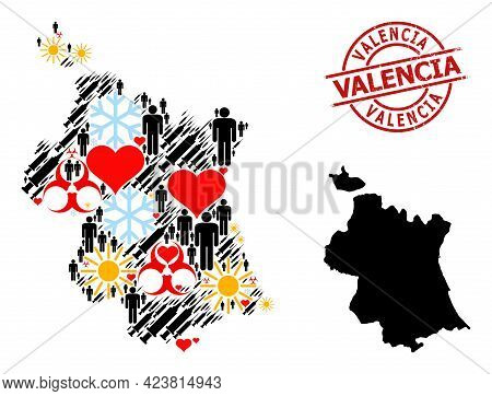 Grunge Valencia Seal, And Heart Patients Infection Treatment Collage Map Of Valencia Province. Red R