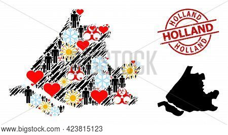 Distress Holland Stamp, And Lovely Demographics Syringe Collage Map Of South Holland. Red Round Badg