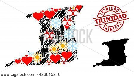 Distress Trinidad Seal, And Lovely Demographics Vaccine Collage Map Of Trinidad Island. Red Round Se