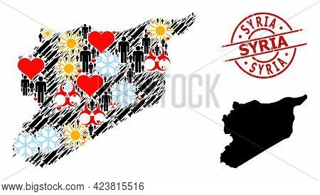Textured Syria Stamp Seal, And Sunny Humans Vaccine Collage Map Of Syria. Red Round Stamp Seal Inclu