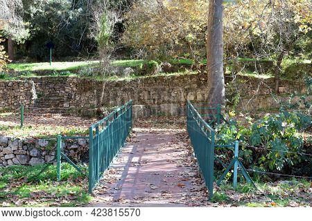 A Small Footbridge Over An Obstacle On A Hiking Trail In Northern Israel.