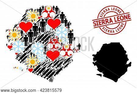 Grunge Sierra Leone Seal, And Heart Demographics Covid-2019 Treatment Mosaic Map Of Sierra Leone. Re