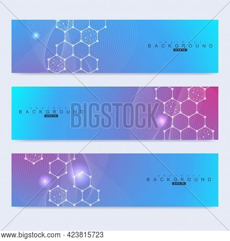 Scientific Set Of Modern Vector Banners. Dna Molecule Structure With Connected Lines And Dots. Scien