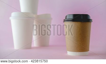 Recycle Paper Coffee Cup Mockup, Take Away Cup For Drinks Isolated On Pink Background With White Pap
